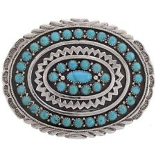 Cluster Belt Buckle Handmade Boyd Natural Kingman Sterling Silver & Turquoise