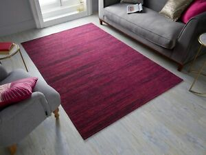MANHATTAN LENOX FUCHSIA CHENILLE STYLE ABSTRACT RUG  in various sizes