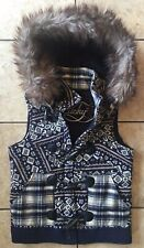 Lucky Brand Sweater Vest With Detachable Hood Faux Fur XS