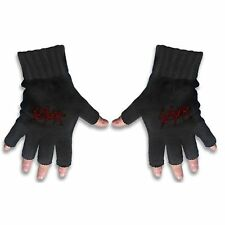 Slayer Scratched Logo Black Fingerless Gloves Knitted Gift Metal Cotton Official