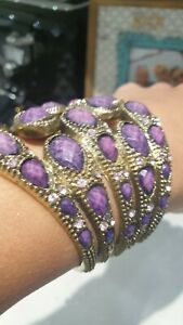 Gold tone and purple hinged bracelet bangle cuff costume jewellery rare unusual