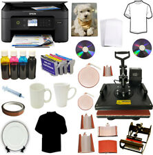 New Listing8in1 Combo Heat Press Wireles Sublimation Ink Printer Tshirts Plates Mugs Bundle