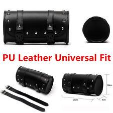 Black Leather Tool Roll Saddle Bag Motorcycle Motorbike Paniers& Luggage Storage