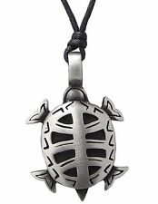 Pewter TURTLE Pendant on Adjustable Black Cord Necklace Nickel Free Sea Life