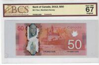 Canada $50 Banknote 2012 BC-72a-i BCS Superb GEM UNC 67 Original - Polymer