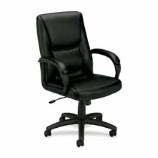 Basyx By Hon Vl161 Mid Back Loop Arm Management Chair Leather Black Seat