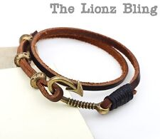 Vintage style Genuine Brown Leather & Antiqued Bronze Fish Hook Clasp Bracelet