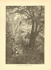 England, Isle Of Wight, Staircase To Carisbrooke Keep, 1878 Antique Art Print.
