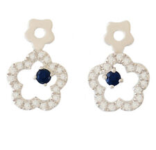 NATURAL AUSTRALIAN BLUE SAPPHIRE + 40 GENUINE DIAMOND EARRINGS IN 9K WHITE GOLD.