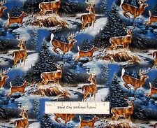 Winter Deer Animal Fabric Wild Wings Wintergreen Scenic CP53274 Cotton YARD