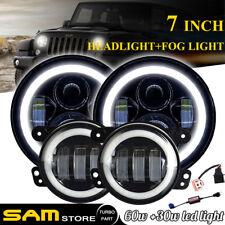 """DOT 7"""" Halo LED Headlight + 4'' Fog Lights For Jeep Wrangler White Super Bright"""