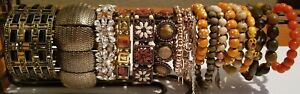 **Bracelet Collection lot variety rhinestones copper tone rose gold brass**