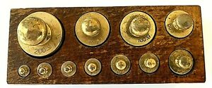 VINTAGE GERMAN PHARMACY BRASS BALANCE SCALE WEIGHTS COMPLETE SET 500 GR
