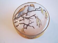 Staffordshire Enamel Trinket Box -2 Birds On A Branch - In Original Box