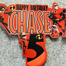 The Incredibles PERSONALISED Cake Topper.  Lolly Loot Bag Party Supplies Bunting