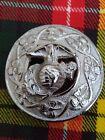 "Flower Brooch Chrome Finish 3""/Kilt Fly Plaid Pin Brooch American Eagle Emblem"