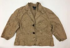 R.q.t Jacket Woman Petite Large Linen Embrodered Brown Floral 3/4 Sleeve