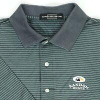 "Carnoustie Men Medium 45"" Bandon Dunes Golf Polo Shirt Green Black Stripe Cotton"