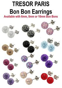 TRESOR PARIS TITANIUM & CRYSTAL BON BON EARRINGS ** FREE DELIVERY**