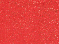 Red with Gold Metallic  - Cotton Fabric - 1 Yard
