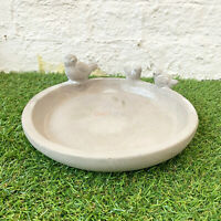 Smooth Concrete Birds Bowl Outdoor Bird Bath Food Feeder Dish Sculpture Ornament