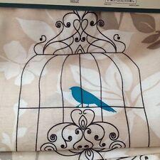 BIRD CAGE BEIGE FABRIC SHOWER CURTAIN  W/ 12 ROLLER HOOKS PEACOCK BLUE BIRD