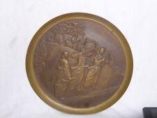 Vintage Solid Brass South Korea Plate Ancient Archers Bow Arrow Warriors