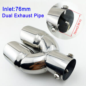 """Dual Outlet 76mm 3"""" Inch Accessories Tail Muffler Exhaust Pipe Throat Tip Trim"""