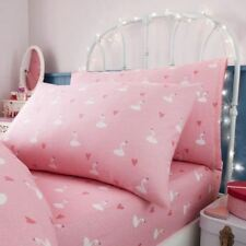 PRINCESS SWANS SINGLE FITTED SHEET & PILLOWCASE SET GIRLS HEARTS POLKA DOTS