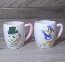 Disney 1961 Vintage Two Mug Set Ludwig Von Drake and Donald Duck Lot