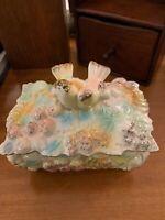 Pretty Vintage Trinket Box~lidded~Birds~Pastels~Pink,Blue,green,gold~Japan