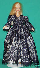 Navy Blue Lace over White Gown for Barbie Doll Bd81