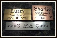 """Custom Engraved Personalized Pet Grave Dog Cat Marker Brass Silver Copper to 12"""""""