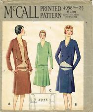 1920s Vintage McCall Sewing Pattern 4958 Rare Uncut Flapper Suit Dress Sz 36 B