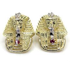 4 Grams Mens Ladies 10k Real Yellow Gold king tut Egyptian Earrings Studs