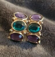 Vintage Earrings post Hoops Gold Tone purple blue glass stones
