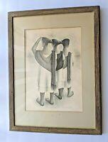 "Mid Century FRANCISCO DOSAMANTES (1911 - 1986) ""Mayan Trio"" signed lithograph"
