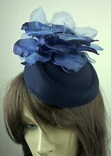 navy blue satin flower fascinator pill box hat hair clip headpiece wedding party