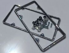 2x Chrome Plated License Frame Diamond Silver Bling Glitter Crystal RhineStone