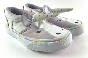 VANS Missy Sz 13 Purple UNICORN Horn Slip On Skate Shoes Glitter Girls Toddler