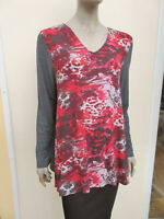 Together - Womens Red / Grey Mix Stretch Jersey Tunic Top - size 20