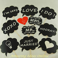11 Piece Black Photo Booth Props (Fully Assembled) Wedding Party Mr & Mrs Speech