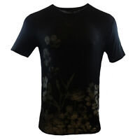FOREVER 21 Men's T-shirt - Sheer -Black -Flower -Fashion - SUMMER SALE