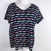 Laura Scott Womens Top Sz 3X Blue Striped Short Sleeve Work Casual New GK36