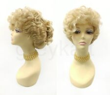 Golden Blonde w/ Highlights Curly Updo Wig Colonial Victorian Grandma Costume