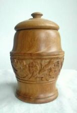 Carved Wooden Tobacco Herb Jar Pot with Lid Treen