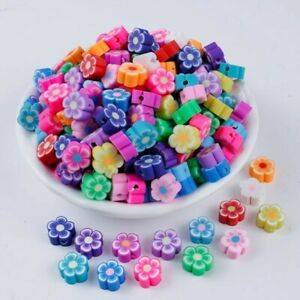Polymer Clay Flower Shape Beads Spacer Loose Mix Color DIY Jewelry Making 20pcs