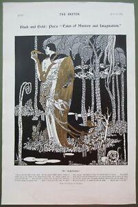 Poe's Tales of Mystery & Imagination Eleonora Black & Gold Antique Print 1913