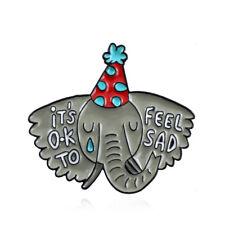 "Feel Sad"" Brooch Cartoon Animal Badge Gift Sad Elephants Enamel Pins ""It's Ok To"
