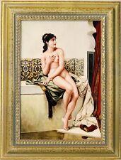 "Antique Original 1800 German Stamped ""KPM"" Enamel Porcelain Painting Erotic Lady"